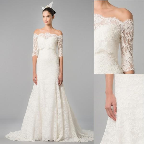 Simple off the shoulder wedding dresses for Off white dresses for weddings