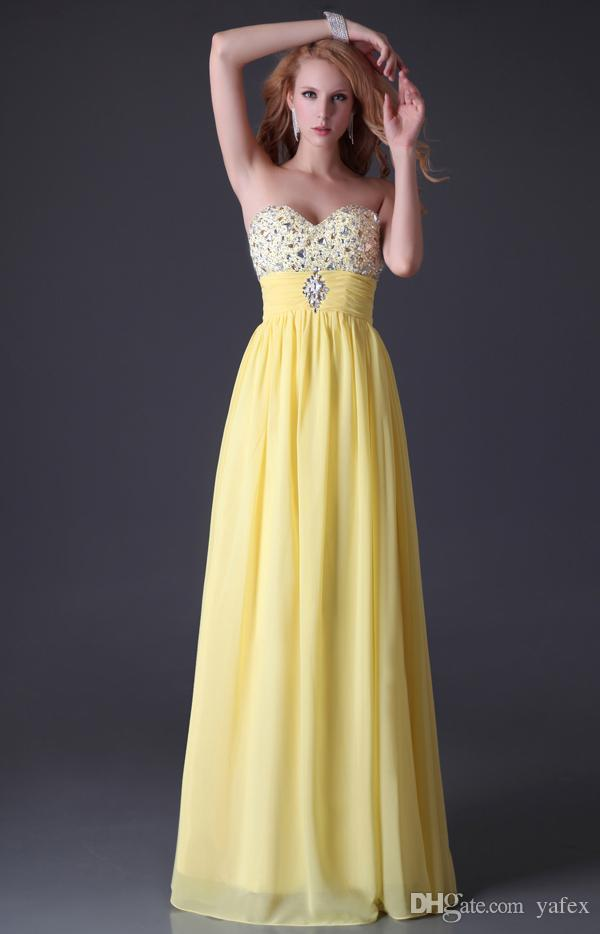 Hot sale elegant grace karin new beaded long yellow for Yellow wedding dresses for sale