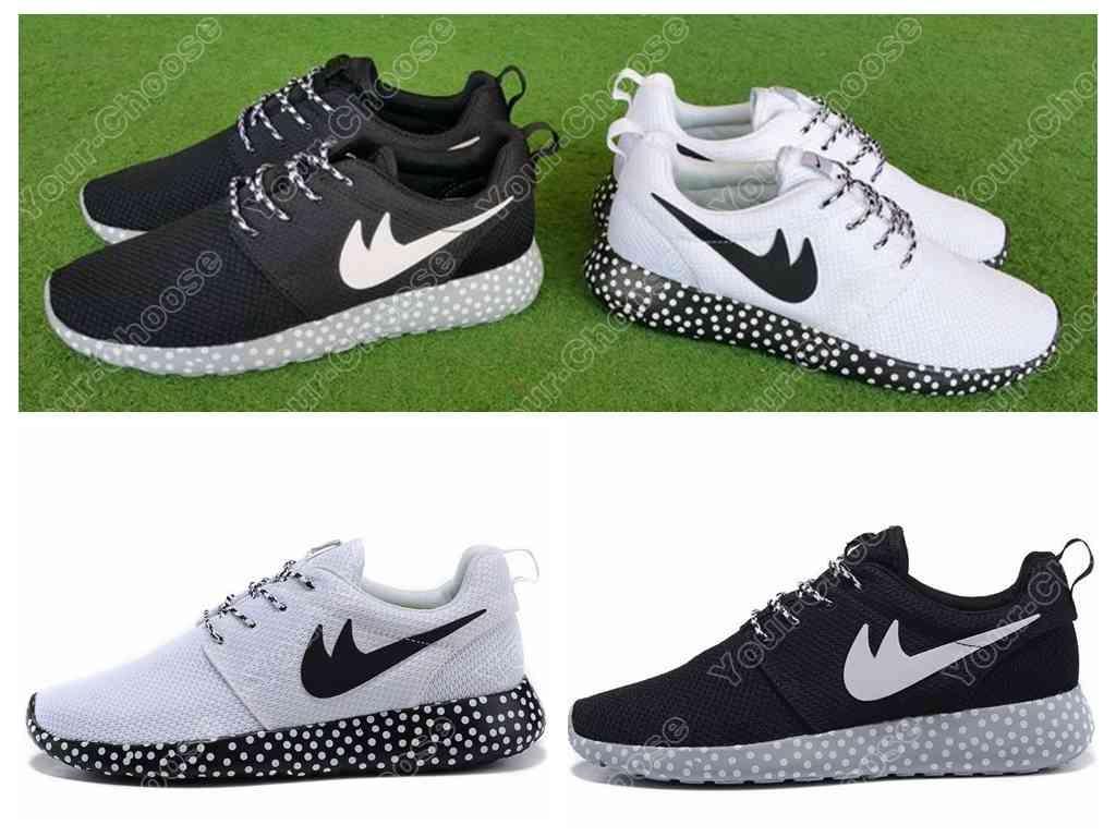 2015 roshe run polka dot sole black white men women running shoes for