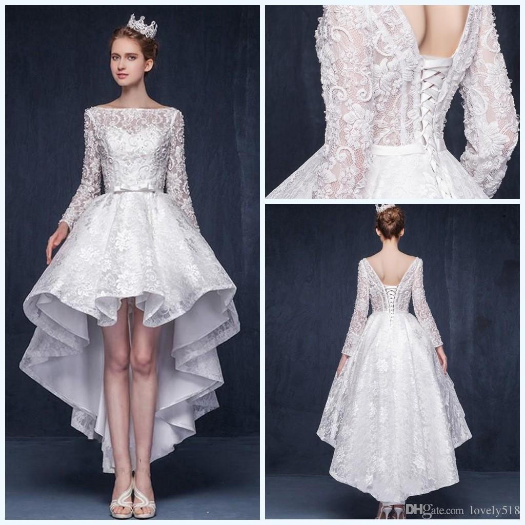 Discount lace high low wedding dresses with long sleeves for Hi lo wedding dress