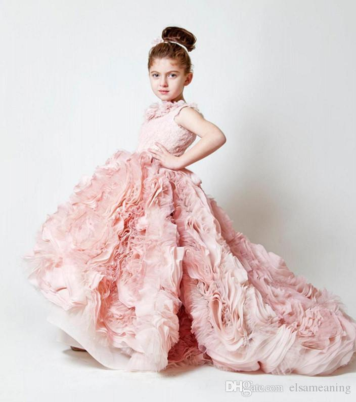 Girls Dress Pink Flower Designer Flower Girl Downs For Weddings ...