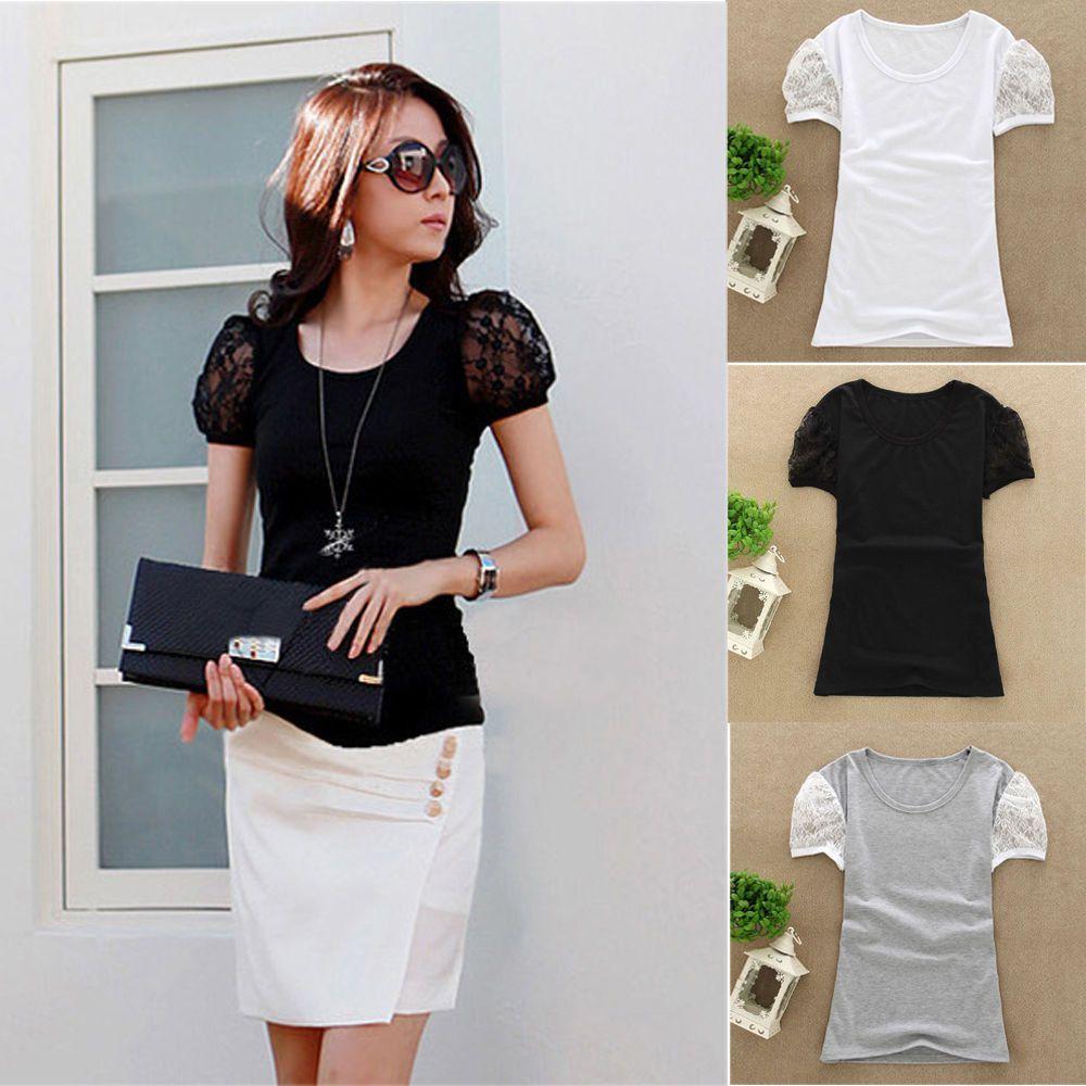 Shirt design ladies 2015 - 2015 New Arrival Summer Women T Shirt Lace Short Sleeve Ladies Shirt Blouse Tops