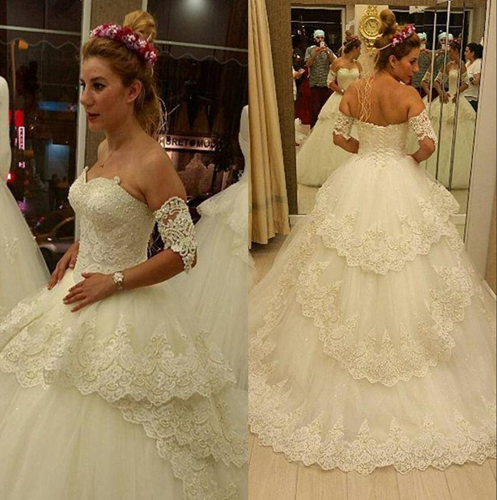 Discount 2016 Wedding Dresses With Arm Bands New Arrival Sweetheart Beaded Appliques A Line