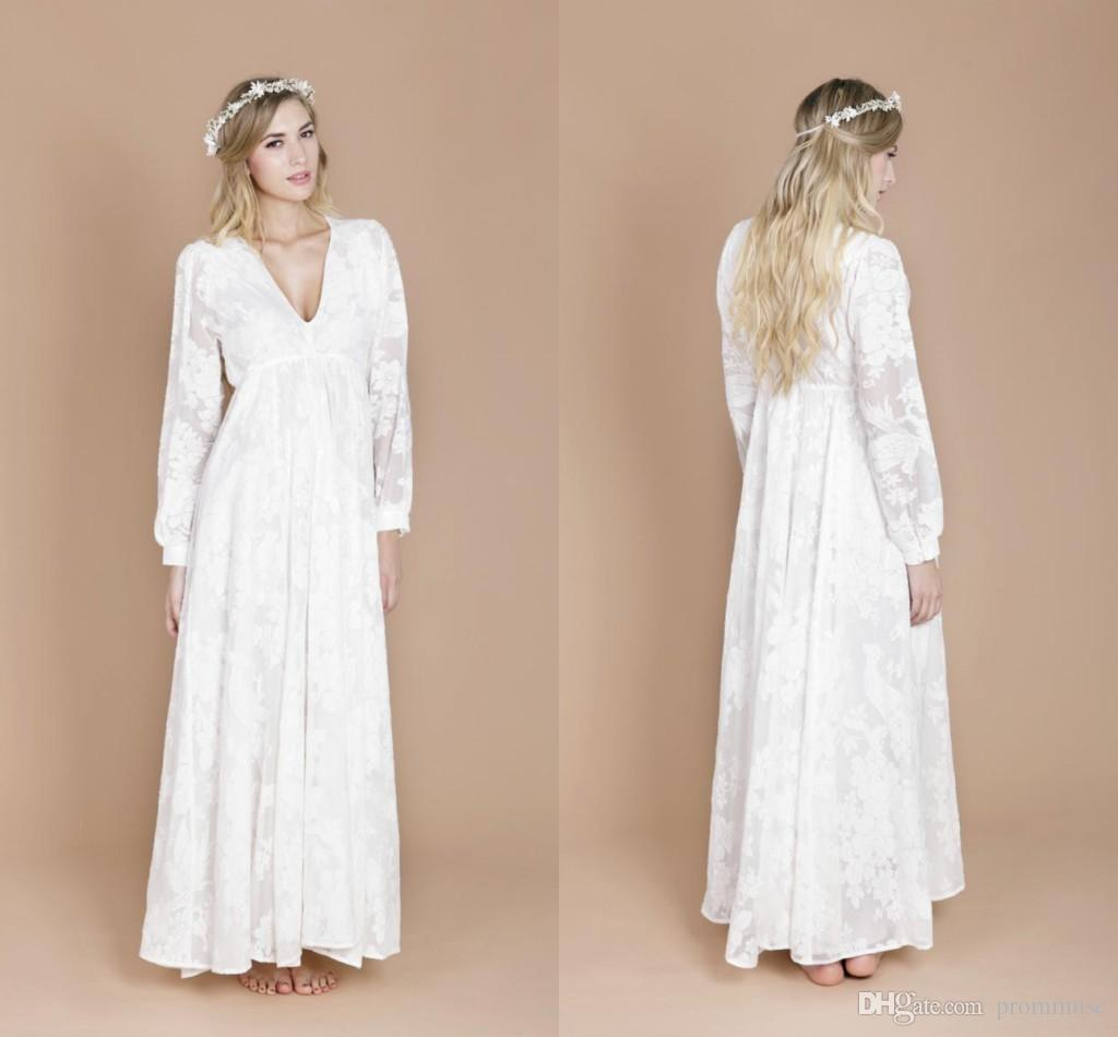 2016 cheap lace boho wedding dresses vintage a line v neck for Cheap boho wedding dresses