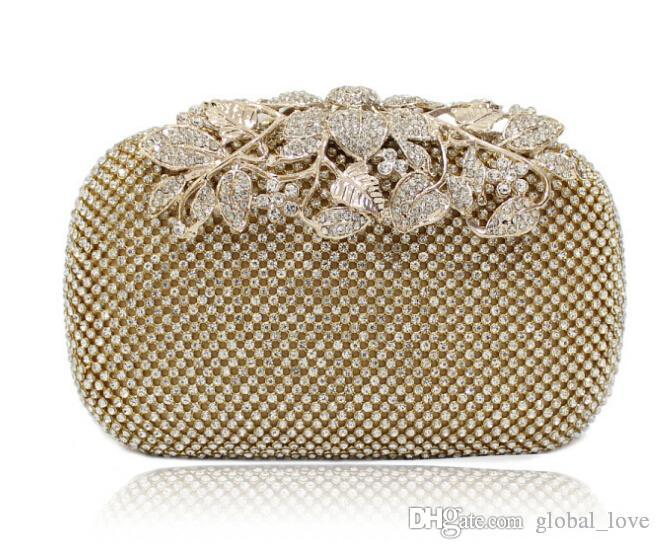 Leather Handbags Swarovski Crystals Bridal Clutches Wedding Evening Prom Party Hand Bag Hote ...