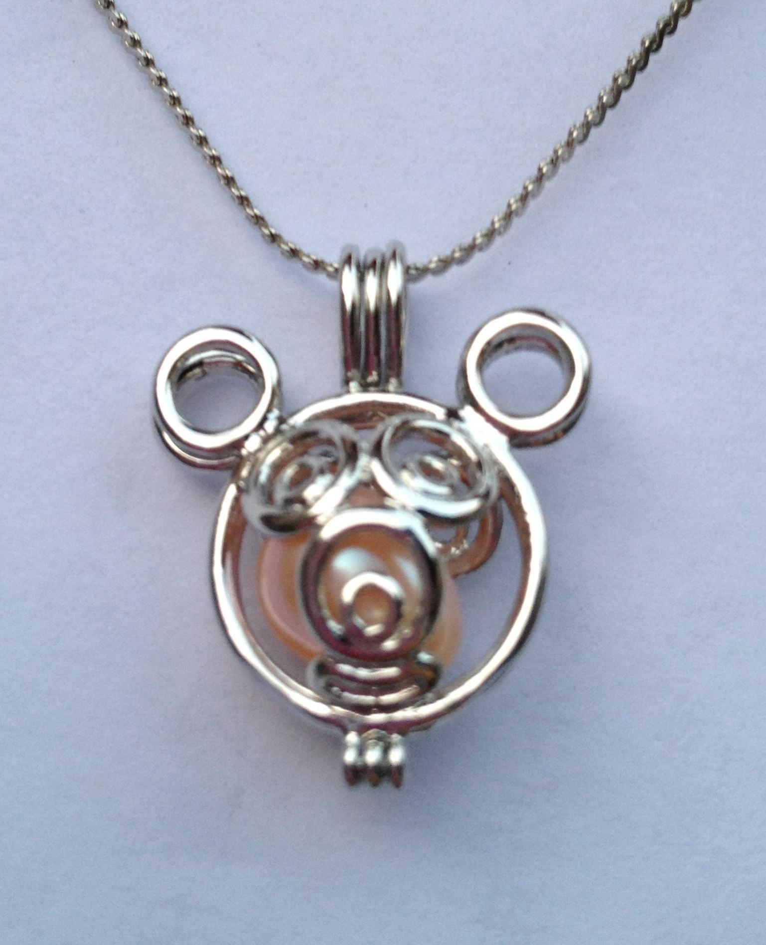 Mickey Mouse style Perle / Cristal / pierre gemme perles Cage Lockets, Wish perl