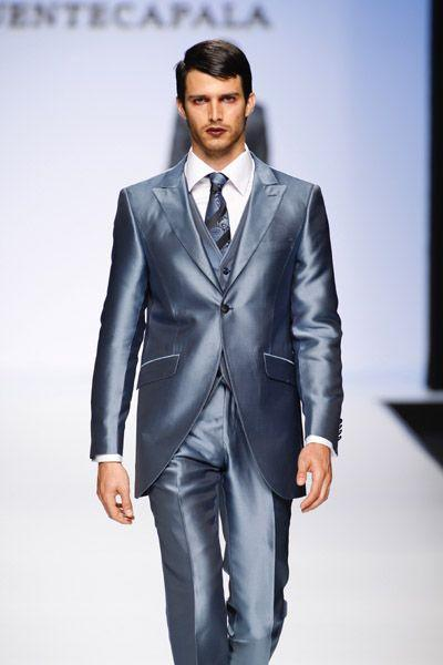 Custom Grooms Tuxedos Silver Blue Wedding Suits For Men Men Suits ...