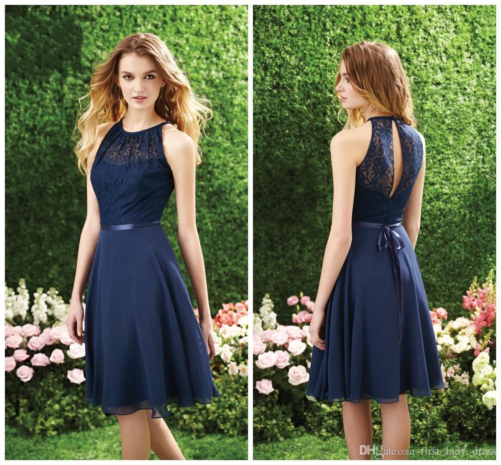 Under 100 Dollar Short Navy Blue Bridesmaid Dress Halter High Neck ...