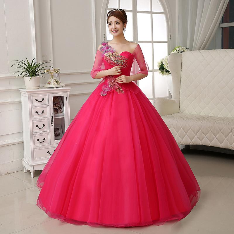 Luxury Hot Pink/Red/Yellow Embroidery Rhinestone Beading Medieval ...