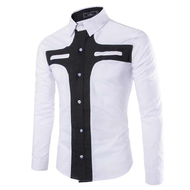 Men Shirt Long Sleeve 2015 New Fashion Patchwork Design Pattern ...