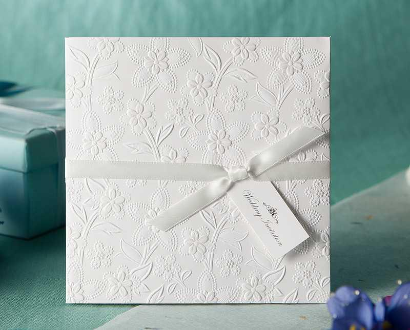 White Wedding Invitations Flower Embossed with Bow Ribbon Free – Wedding Invitations Embossed