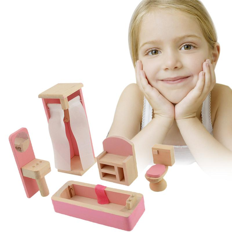 brand baby wooden doll bathroom furniture bathroom dolls house miniature for kids child play toy brand baby wooden doll house