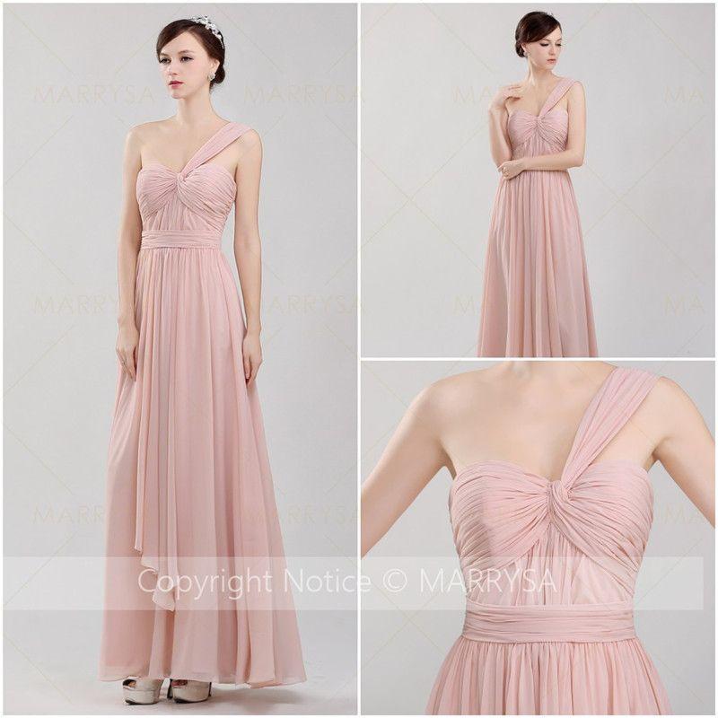 Blush Bridesmaid Dresses Cheap Pink Long Floor Length