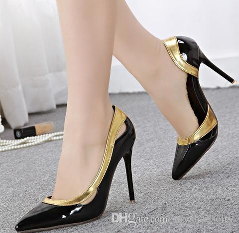 Gold Decorated Sexy Shoes Stiletto Heels Women Pumps Black Patent ...