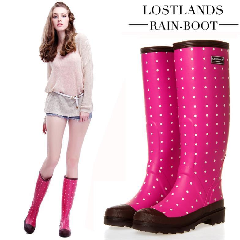 2014 Autumn High Quality Dot Women&39S Rain Boots High Knee