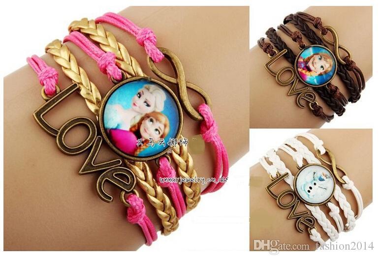 New children's frozen hand-woven bracelets, retro time gem bracelet,frozen children jewelry, kids the best Christmas gift