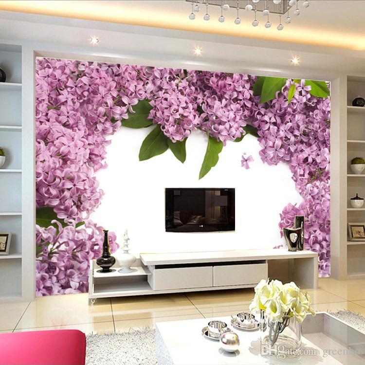 custom elegant large wall mural purple flowers photo