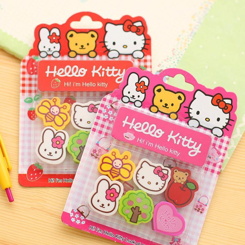 2017 hello kitty school supplies lovely animal eraser