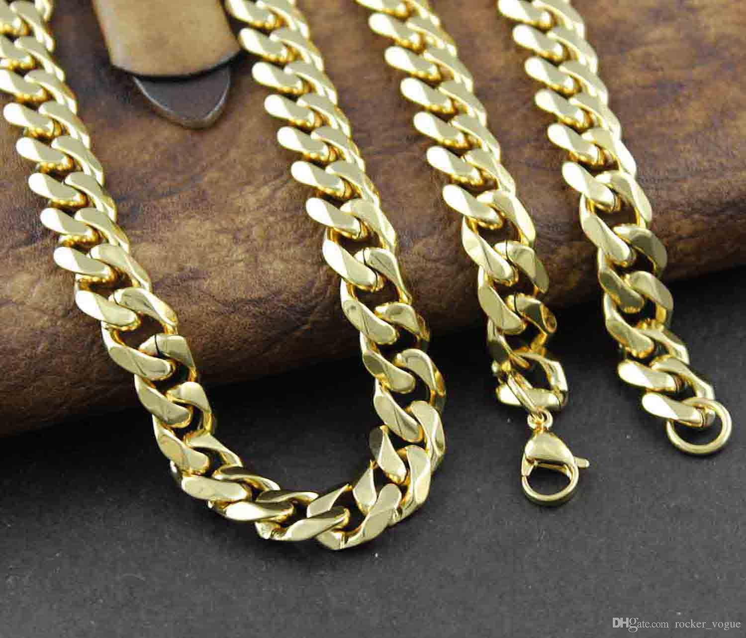 Wholesale never fade solid gold stainless steel men cuban for Does gold plated jewelry fade