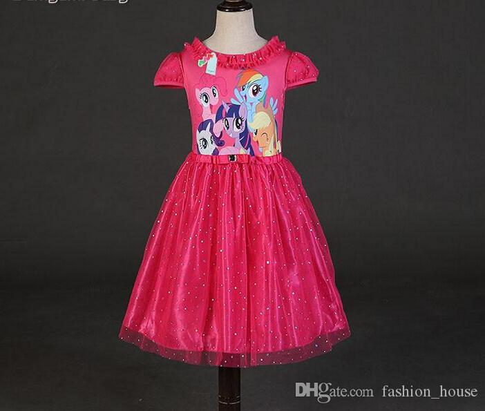 Little Pony Dress Tutu Princess Lace Collar Kids Girls Party Clothes 2-7Y Baby Clothing 3 Colors RK954