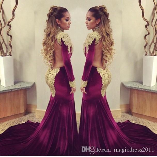 2016 Mermaid Prom Evening Dresses with Long Sleeve Burgundy High ...