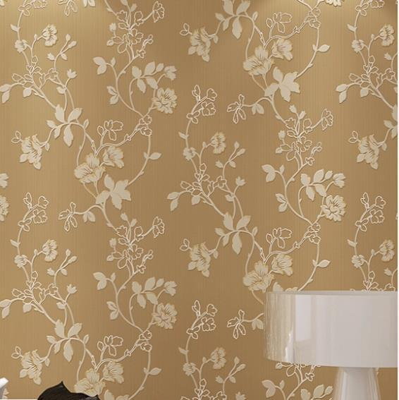 embroidery d modern flower mural wallpaper embossed texture, Living room