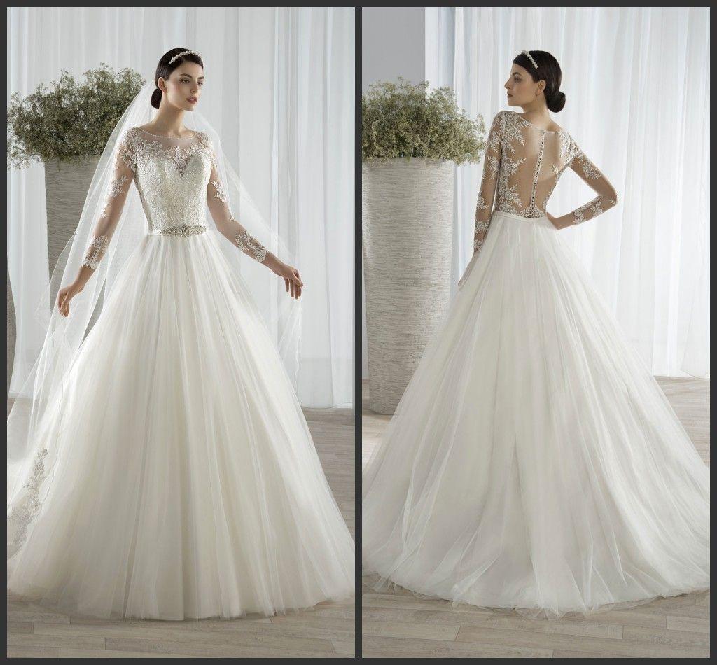Wholesale Demetrios Wedding Dresses : Discount wedding dresses a line demetrios sheer neckline long