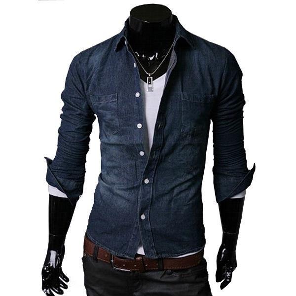 2015 Mens Denim Jean Shirts Men's Dark Blue Cowboy Shirt Brand ...