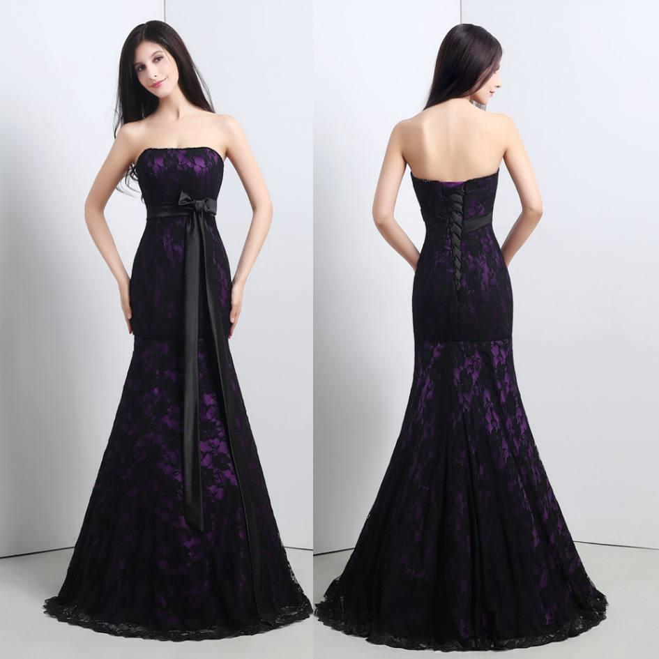 2016 Black And Purple Mother'S Dress Lace Applique Modest Mermaid ...