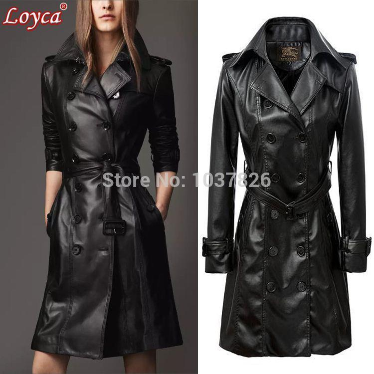 Long Black Ladies Leather Coats Online | Long Black Ladies Leather
