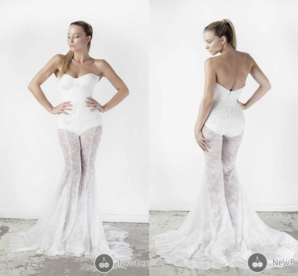 Unique Sexy Mermaid Wedding Dresses Applique Lace Applique Sexy ...