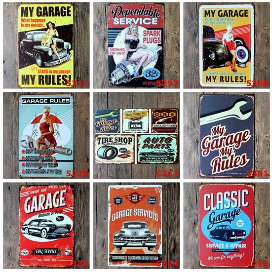 Classic Car Signs : Cm classic garage car with blond girl