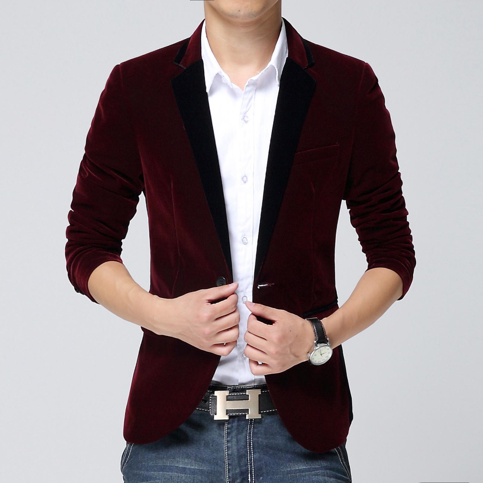 Mens jacket button rules - 2015 New Arrival Men Slim Red Suit Blazer Jacket Cotton Suit Blazer Masculino Rules Collar Man Suit Autumn Men Blazer