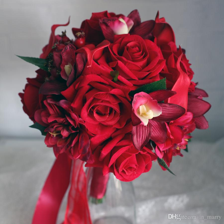 Bridal bouquets 2015 red rose cymbidium dahlia calla lily bridesmaids brooch bouquet bride - Red garden rose bouquet ...