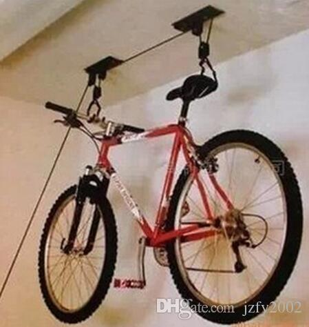 online cheap bike bicycle lift ceiling mounted hoist storage garage iron bike hanger pulley rack. Black Bedroom Furniture Sets. Home Design Ideas