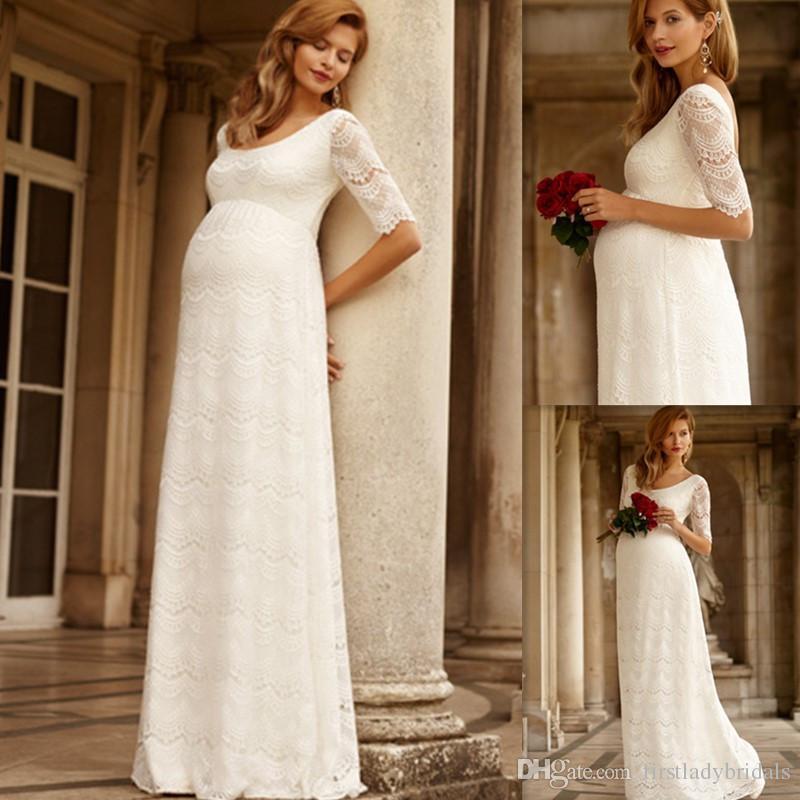 Pregnant women bridal dresses half sleeves ivory lace for Pregnant women wedding dresses