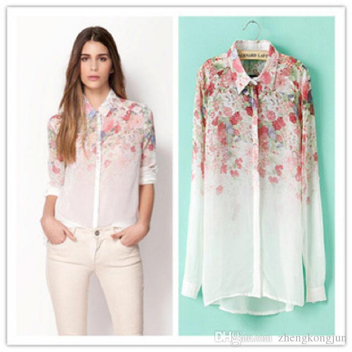 2015 Fashion Women Chiffon Blouses Women Flower Print Lapel Casual ...