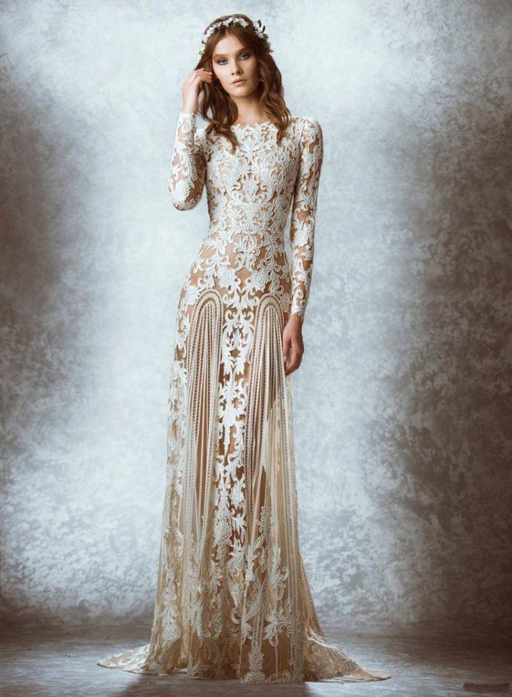 2015 Bohemian Bridal Gowns White Lace Champagne Lace