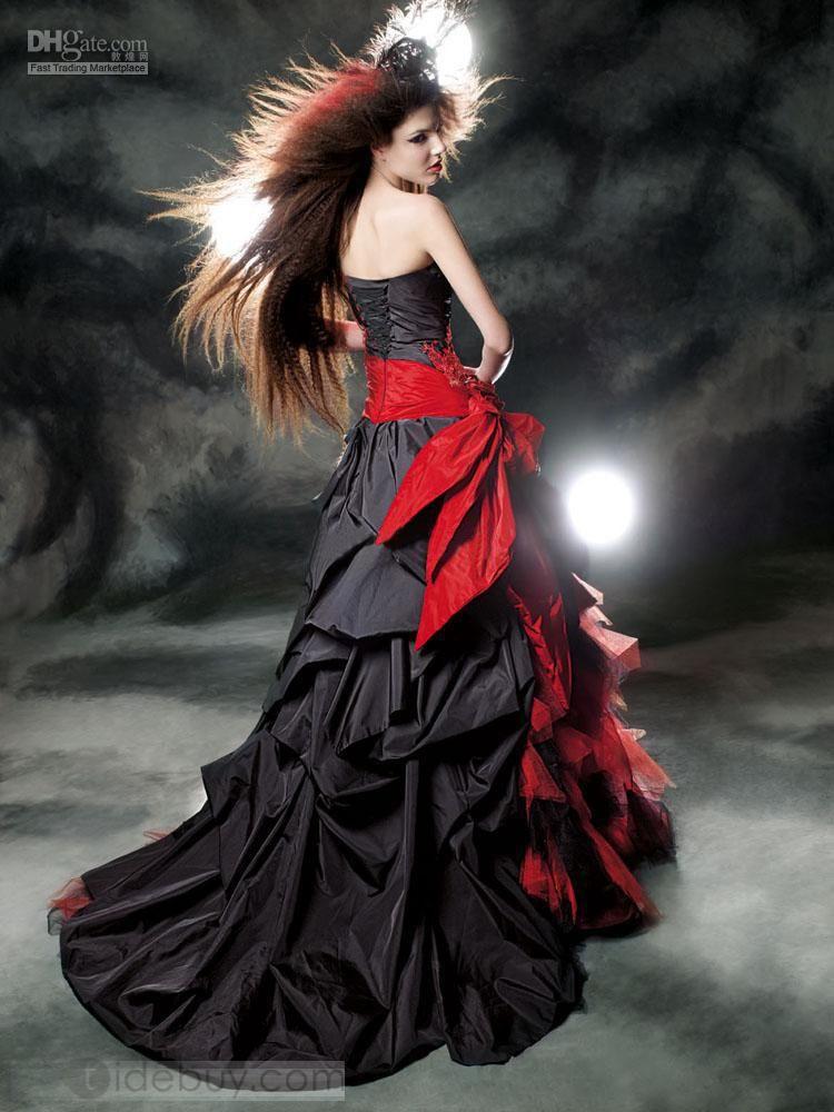Robe de mariage noir et rouge - Robe de mariee rouge et noir ...