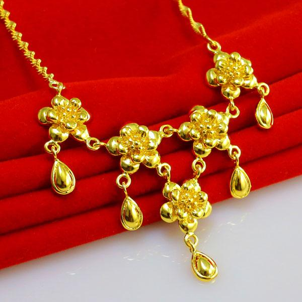 Not fade gold chain necklace female models get married 24k for Does gold plated jewelry fade