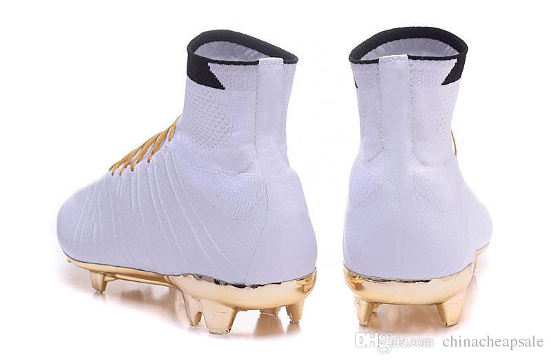 ronaldo soccer shoes gold white