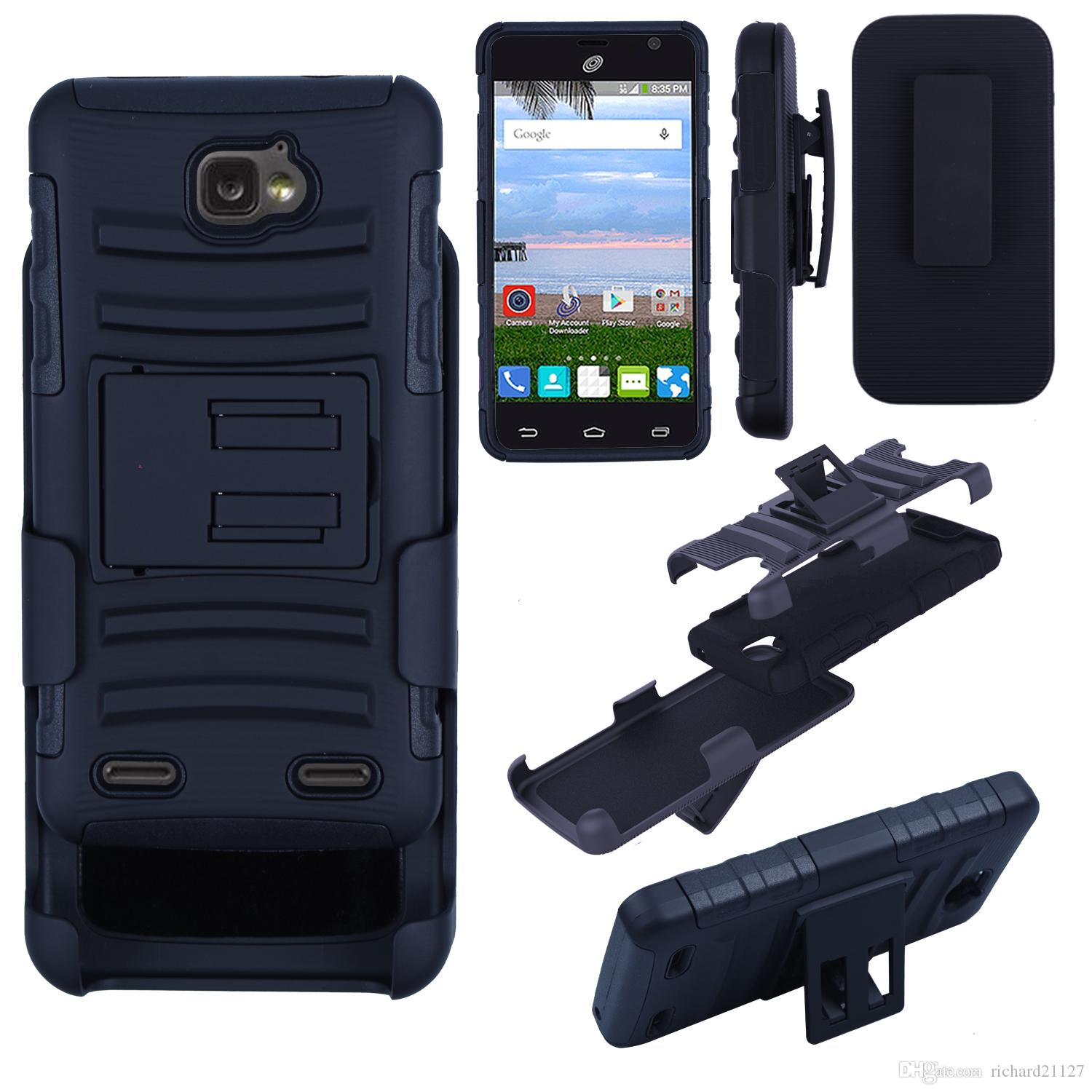 Cases For ZTE Zephyr Z752C Cell Phone Super Combo Rugged Shell Cover  Holster With Kickstand Belt