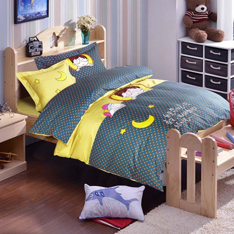 korean cotton cartoon kids bedding set twin sizecute applique embroidery bed sheet 4pcs bedding sets twin kids