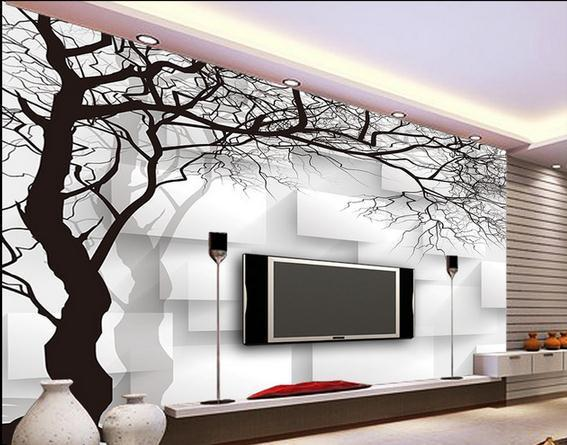 Wall paper black and white tree box non woven wallpaper for Black tree mural