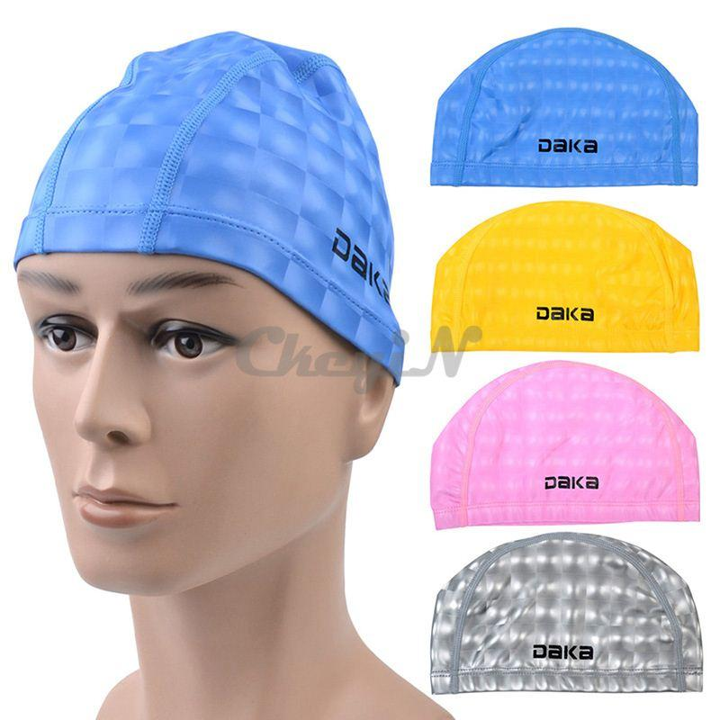2018 Fashion Durable Swimming Cap Pu Coating Swim Hat For Swim Pool Women Men Adult Children 0