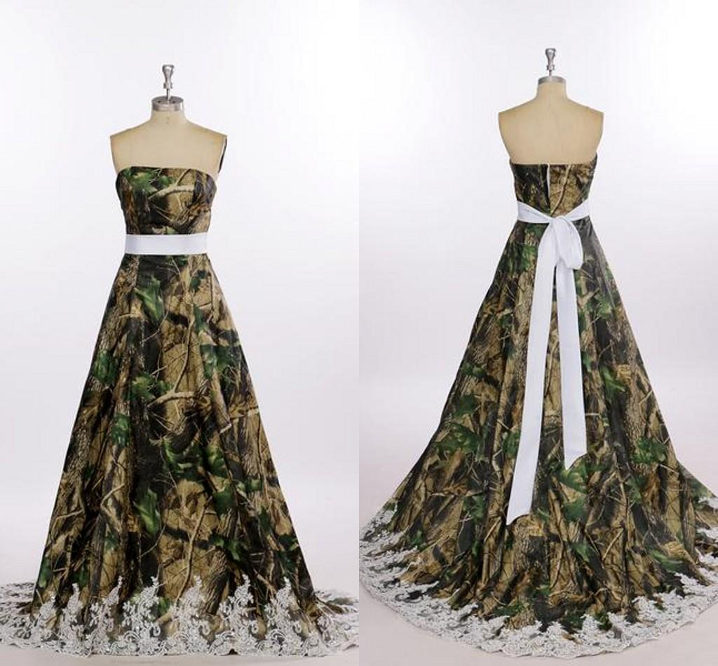 Discount real image camo wedding dresses with lace edage for Camo ribbon for wedding dress