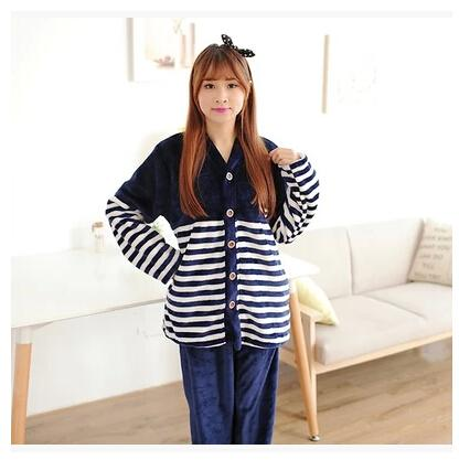 2017 2016 Winter New Striped Flannel Pajamas Pregnant Women Casual ...