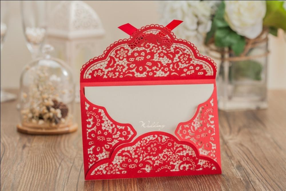 new laser cut wedding invitation cards design with envelope free printing inner sheet bowknot invitation card