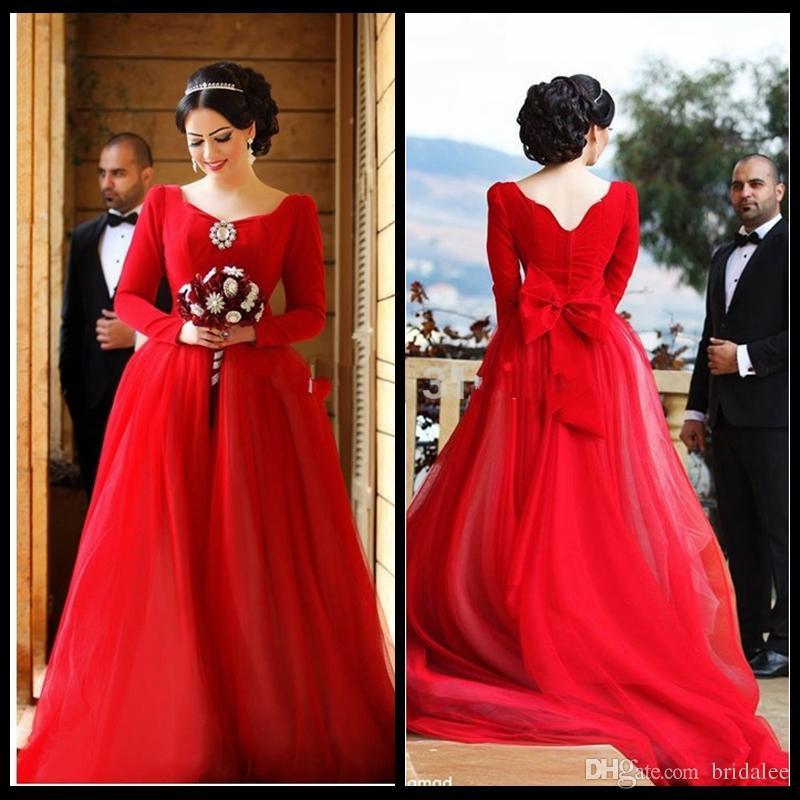 Red Long Sleeve Wedding Dress 2016 Elegant Scoop Neck A Line