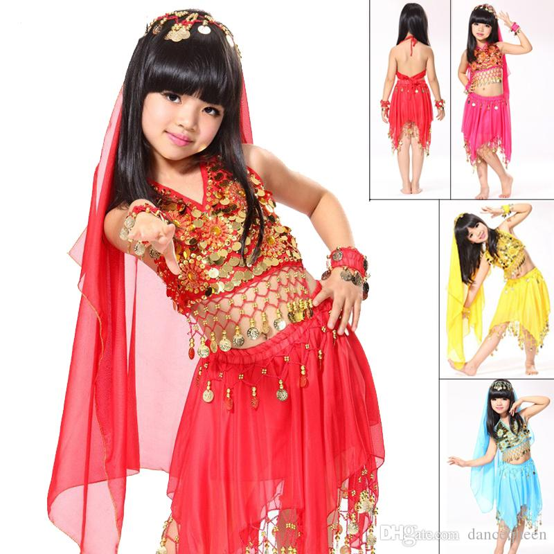 2017 2015 Belly Dance Costumes For Kids TopSkirt2*handwearHeadwear Child Indian Clothes Fashion Girl Egyptian Style Dresses Dq2010 From Dancequeen,